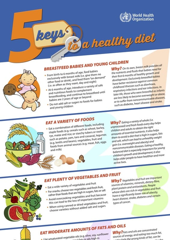 WHO 5 keys to a healthy diet