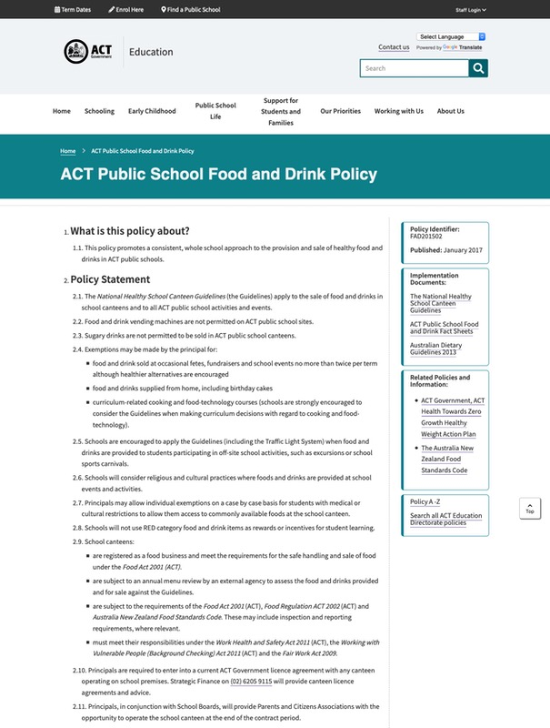ACT Public School Food and Drink Policy