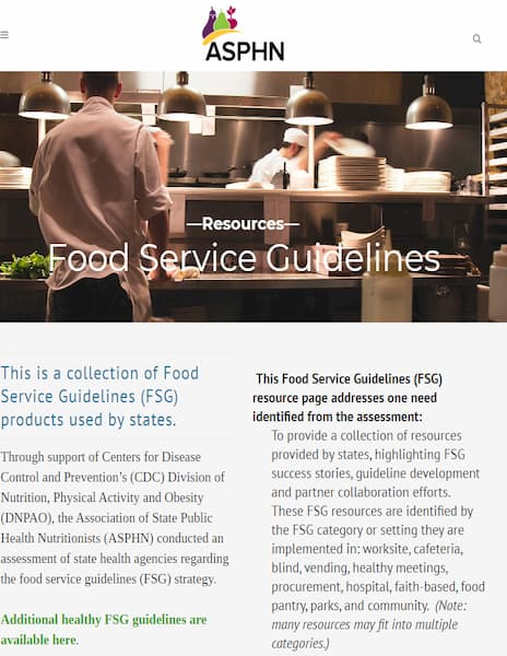 Food Service Guidelines Resources website