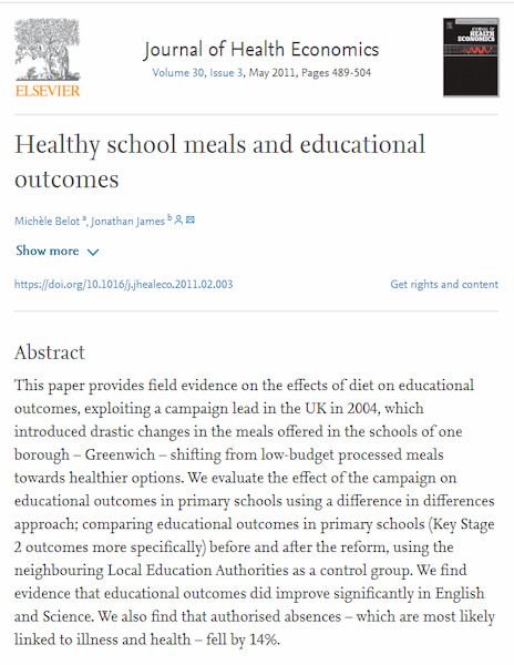 Healthy school meals and educational outcomes