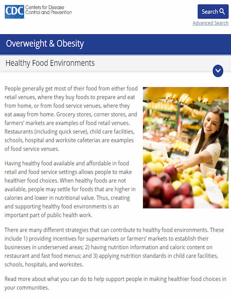 CDC Healthy Food Environments website