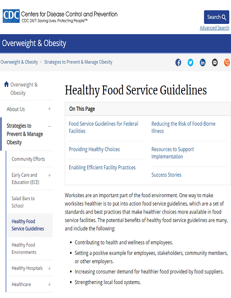 CDC Heathy Foodservice Guidelines website