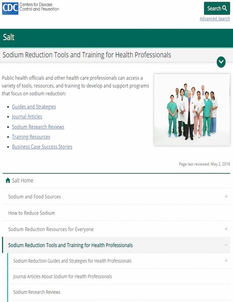 CDC Sodium Reduction Tools and Training for Health Professionals website