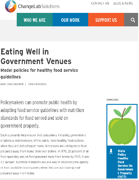Eating Well in Government Venues website