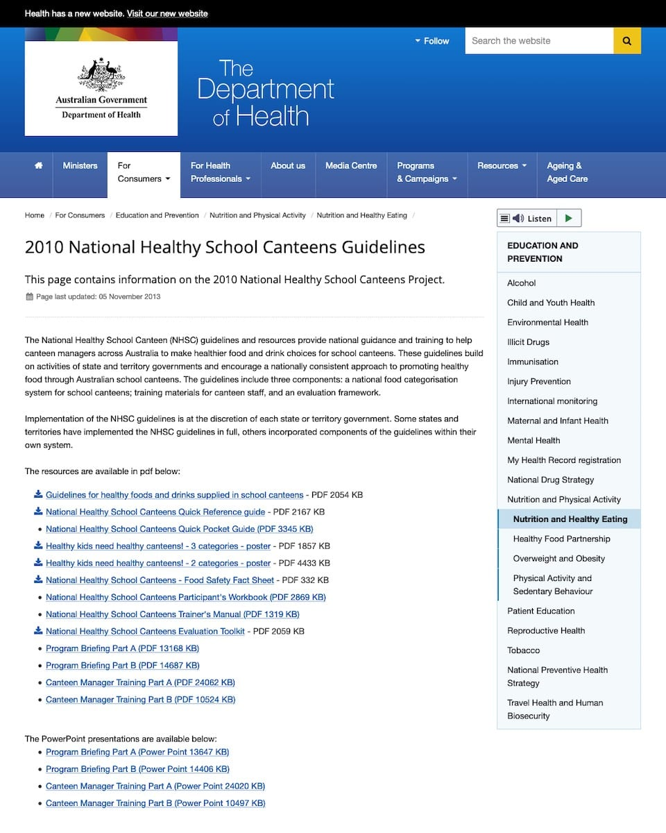 National Healthy School Canteens Guidelines