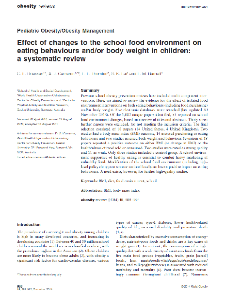 Effect of changes to the school food environment on eating behaviours and/or body weight in children: a systematic review