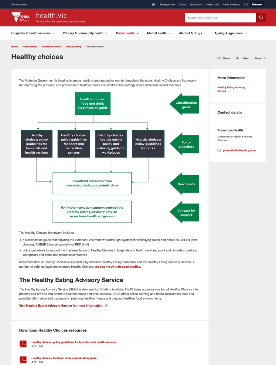 Healthy Choices website