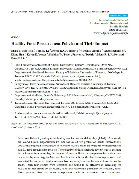 Healthy food procurement policies and their impact