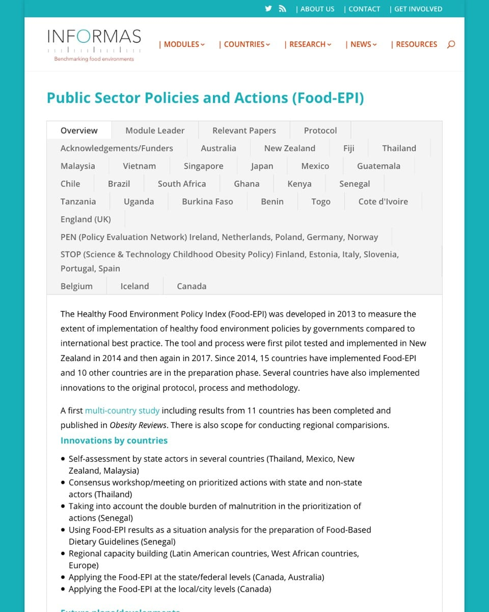 INFORMAS Public Sector Policies and Actions – The Healthy Food Environment Policy Index (Food-EPI)