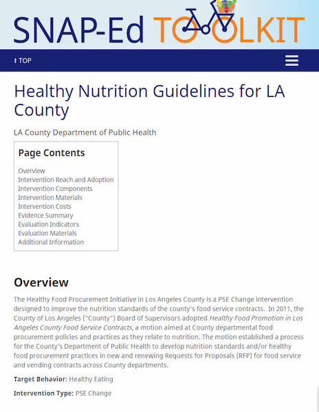 SNAP Ed Toolkit - Healthy Nutrition Guidelines for LA County website