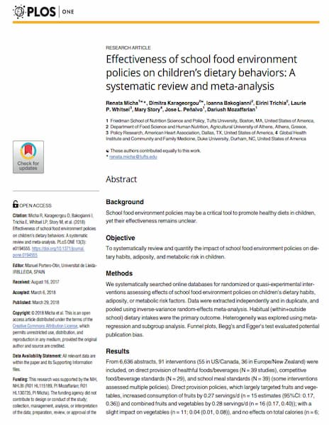 Effectiveness of school food environment policies on children's dietary behaviors: A systematic review and meta-analysis