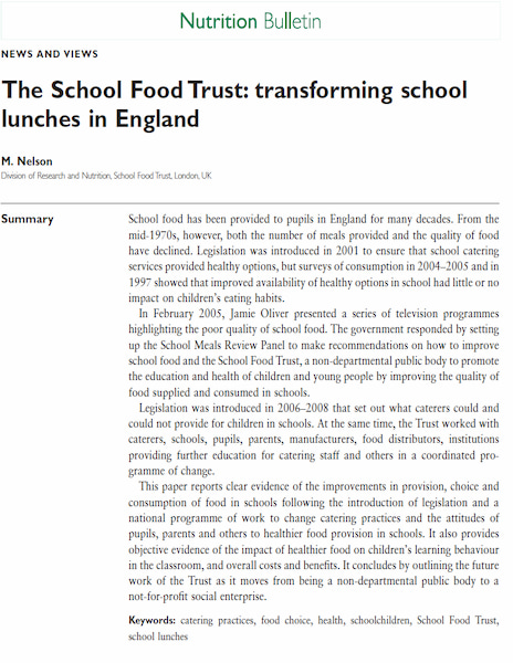 The School Food Trust: transforming school lunches in England