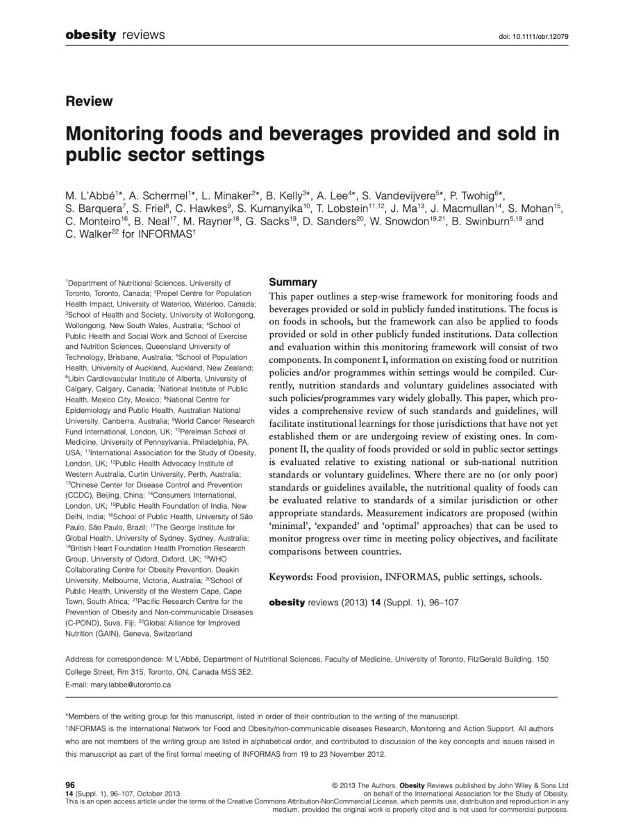 Monitoring foods and beverages provided and sold in public sector settings