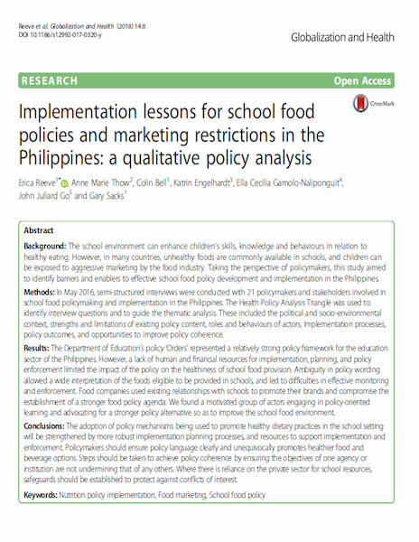 Implementation lessons for school food policies and marketing restrictions in the Philippines: a qualitative policy analysis.
