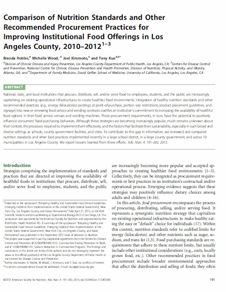 Comparison of Nutrition Standards and Other Recommended Procurement Practices for Improving Institutional Food Offerings in Los Angeles County, 2010–2012.
