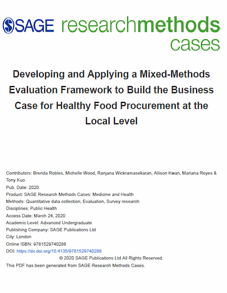 Developing and Applying a Mixed-Methods Evaluation Framework to Build the Business Case for Healthy Food Procurement at the Local Level