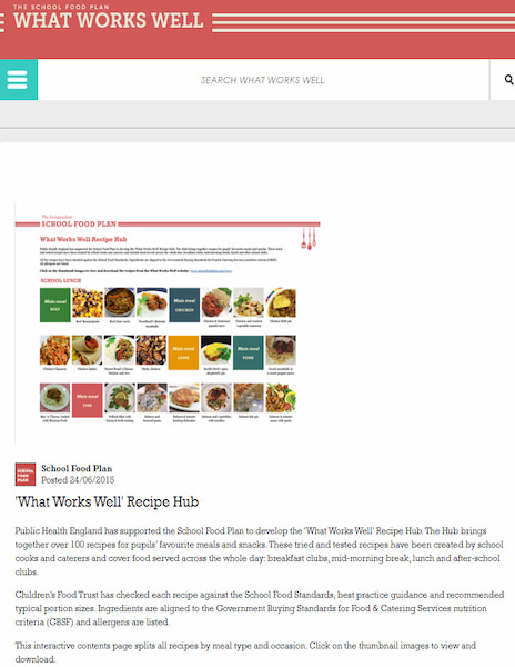 What Works Well Recipe Hub website