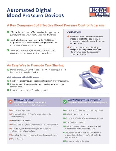 Fact sheet: Automated Digital Blood Pressure Devices