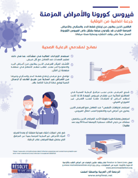 Poster: Guidance on Coronavirus and Chronic Diseases for Providers (Arabic)