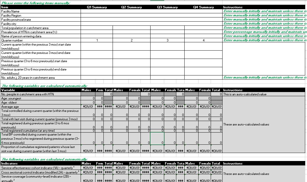 Monitoring tool: Simplified Indicator Calculator Template