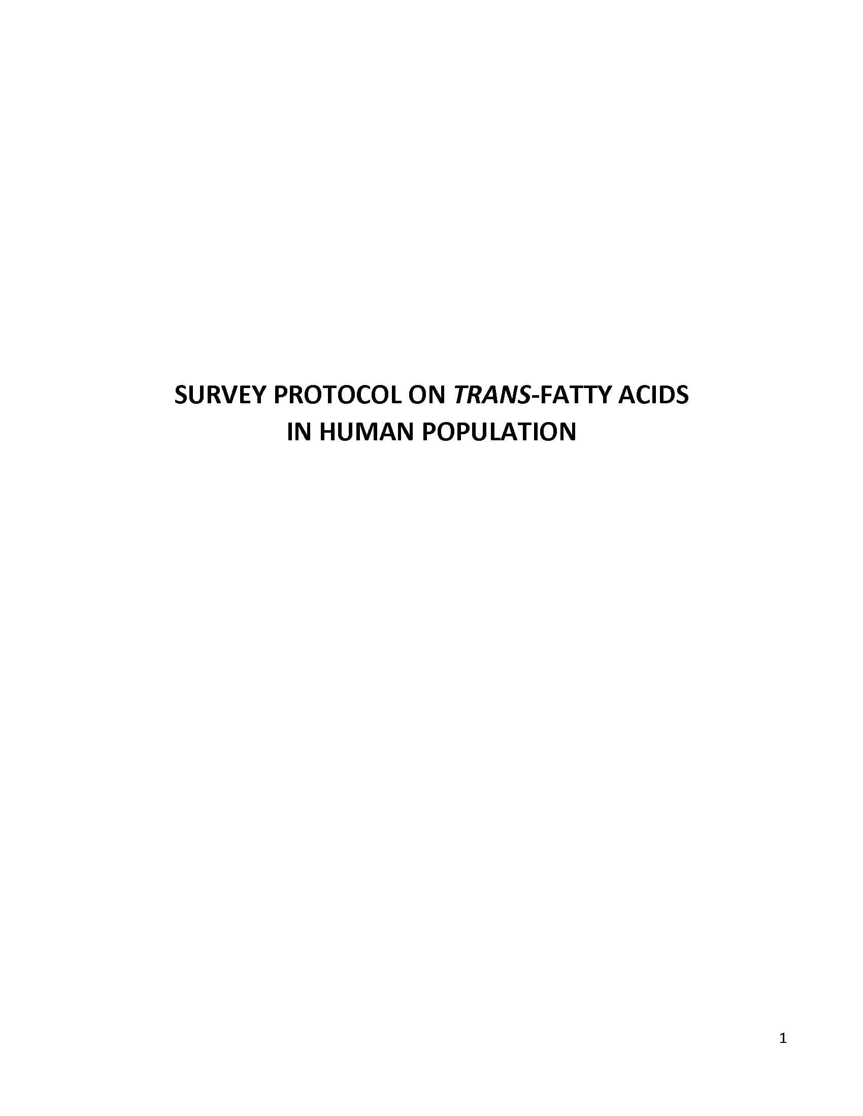 Protocol: Surveying Trans-Fatty Acids in Human Population