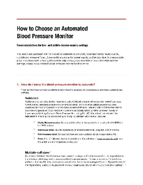 Implementation tool: How to choose an automated BP monitor
