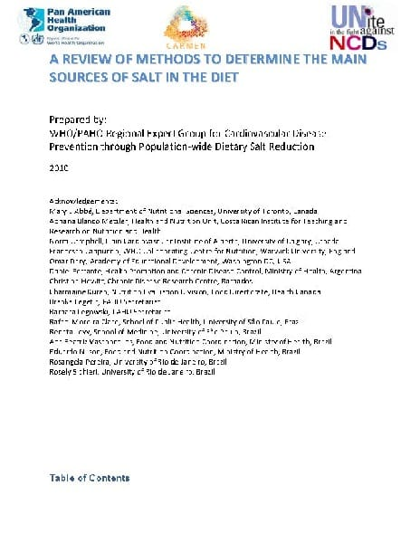 Toolkit: Review of Methods to Determine the Main Sources of Salt in the Diet