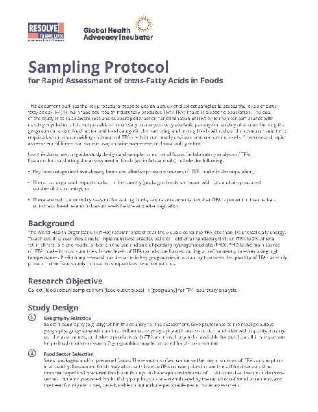 Protocol: Rapid Assessment of Trans Fat in Foods (English)