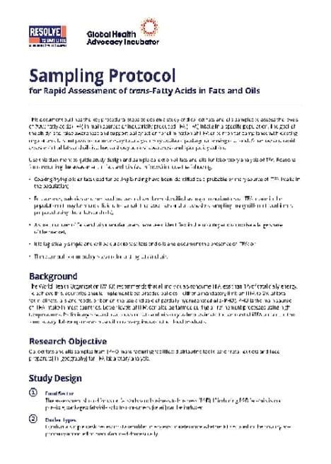 Protocol: Rapid Assessment of Trans Fat in Fats and Oils (English)