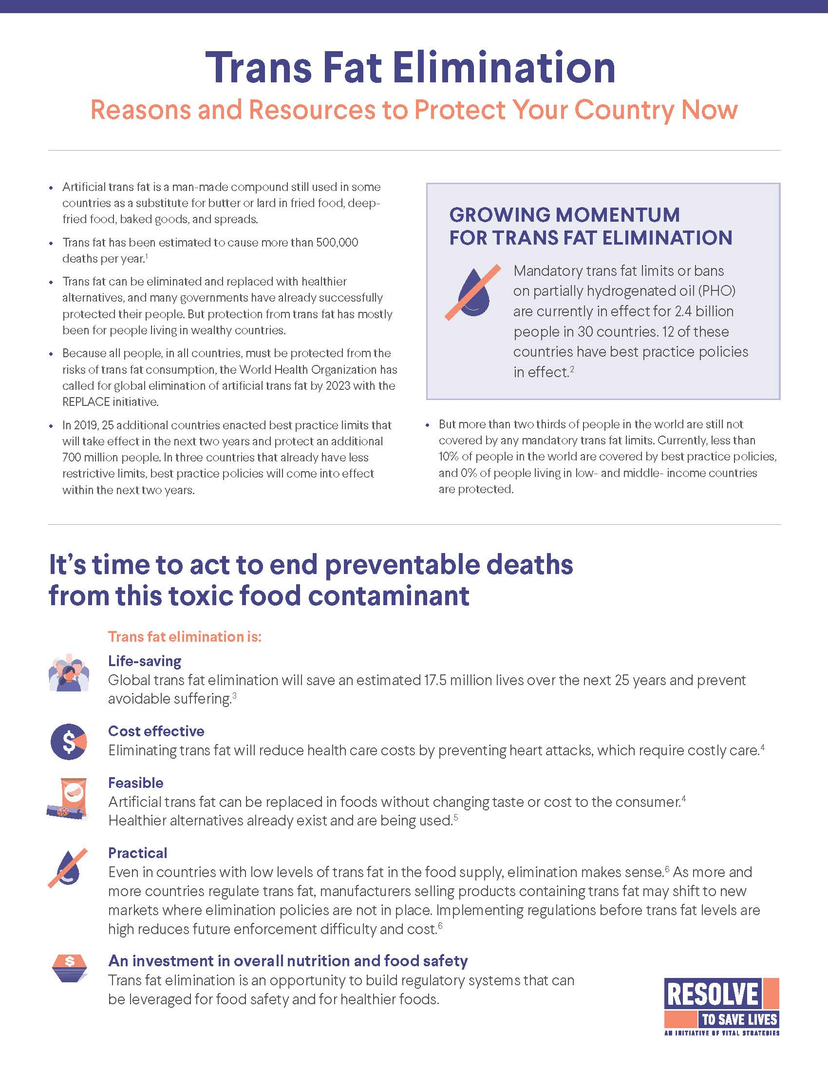 Fact sheet: Trans Fat Elimination: Reasons and Resources to Protect Your Country Now