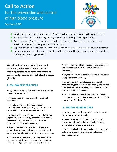 Fact sheet: Call to Action for the Prevention and Control of High Blood Pressure